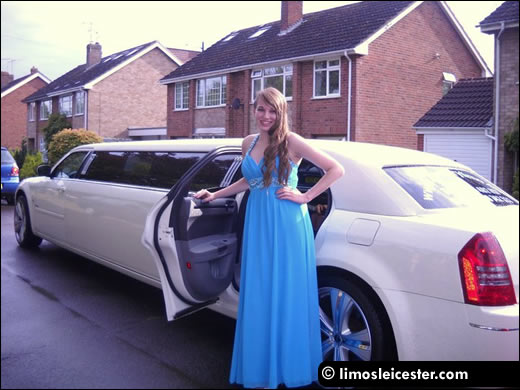 Prom girl awaits a limousine journey